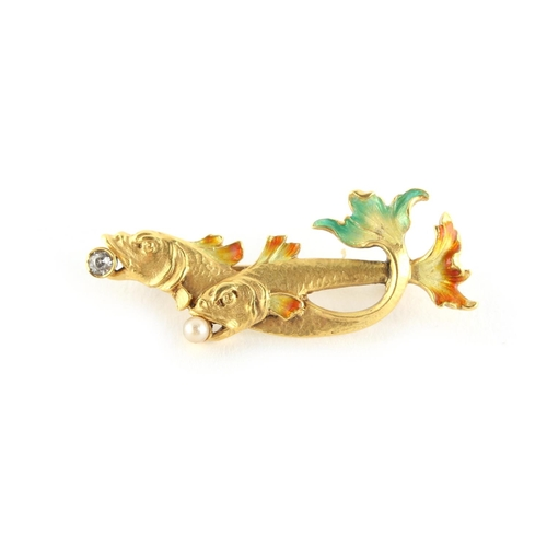 32 - An Art Nouveau style unmarked yellow gold (tests 18ct) & plique a jour brooch modelled as two fish, ...