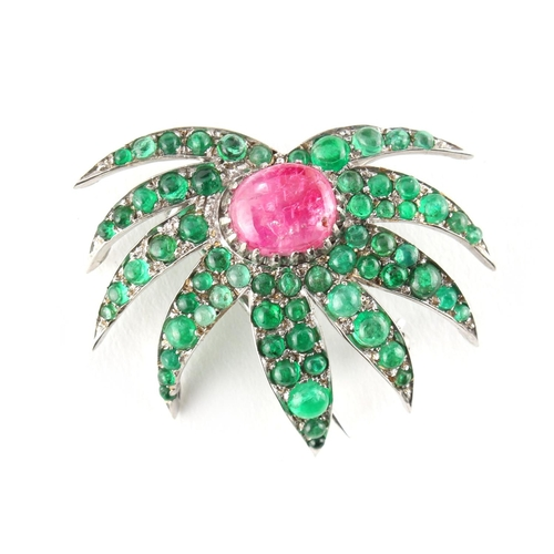 33 - An unusual 18ct white gold cabochon emerald & ruby floral pin or brooch, approximately 10.6 grams, 3...