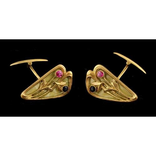 43 - An unusual pair of Russian Art Nouveau gold plique a jour ruby & sapphire cufflinks, Moscow 56 zolot...