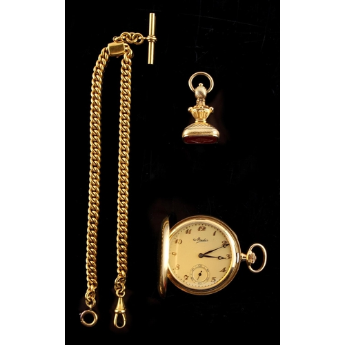 9 - Property of a lady - a Swiss Mado 18ct gold cased pocket watch, with subsidiary seconds dial, approx...