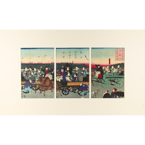 37 - Utagawa Kuniteru (1808-1876) - HORSE CARRIAGES ON A TOKYO STREET - woodblock prints, a triptych, mou...