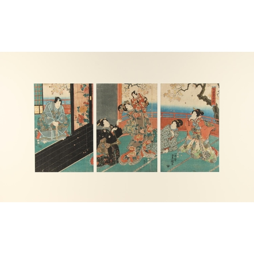 39 - Toyokuni III (1786-1865) - VIEWING CHERRY BLOSSOM - woodblock prints, a triptych, mounted but unfram...