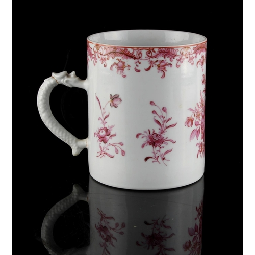 45 - Property of a lady - a Chinese famille rose mug or tankard, Qianlong period (1736-1795), with dragon...