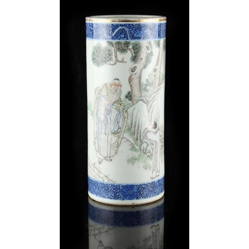 46 - Property of a lady - a Chinese porcelain sleeve vase, Republic period (1912-1949), painted with a sc...