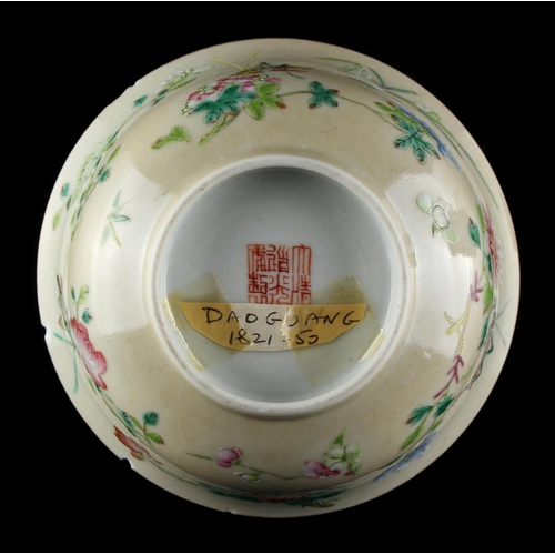 52 - Property of a lady - a Chinese famille rose cricket bowl, painted with crickets & flowers on a pale ...