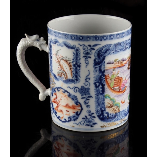 53 - Property of a lady - an 18th century Chinese famille rose mug, with stylised dragon handle, 4.8ins. ...