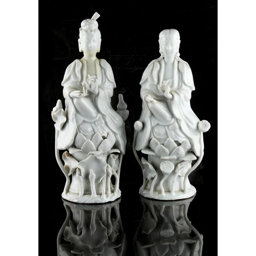 54 - Property of a lady - two Chinese blanc de Chine figures, 19th century, the taller 9.5ins. (24cms.) h...