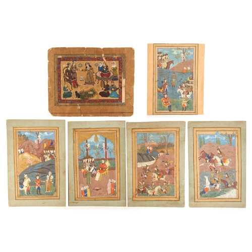1 - A set of five 19th century Indian gouache miniatures, mounted but unframed, the paintings each appro...