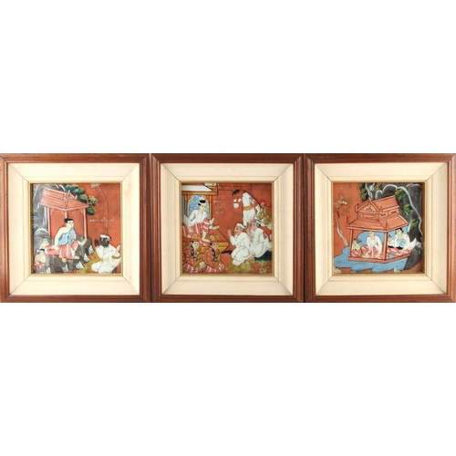 12 - Property of a lady - a set of three Indonesian paintings on linen depicting figures, in matching fra...