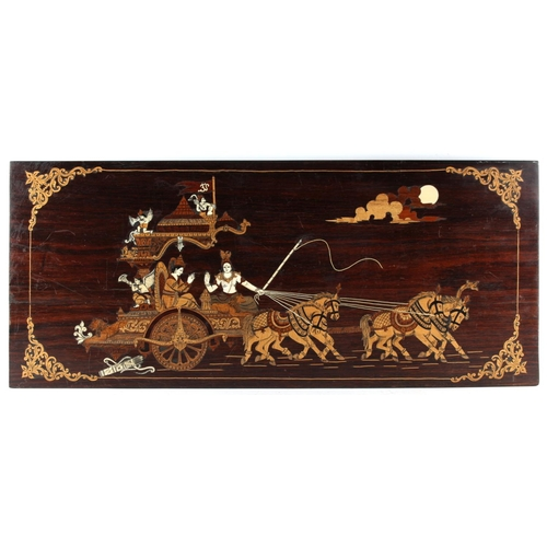 15 - Property of a lady - a marquetry inlaid rosewood rectangular panel depicting a horse drawn chariot, ...