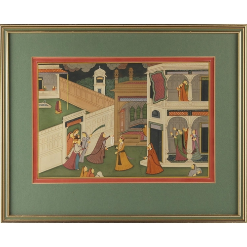 16 - Property of a lady - an Indian gouache painting depicting a court scene, 7.7 by 11.4ins. (19.5 by 29...