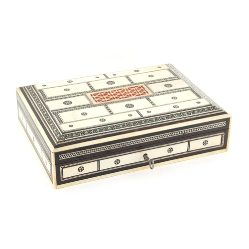 17 - Property of a lady - a late 19th century Indian sadeli & ivory decorated rectangular box, 8ins. (20....