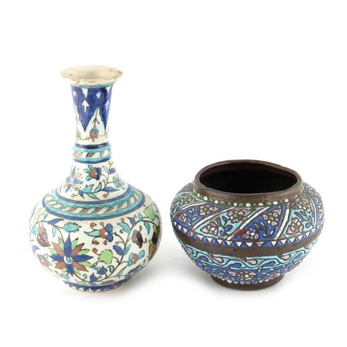18 - Property of a lady - an Ottoman Islamic copper & enamel pot, possibly Syrian, circa 1900, 3.75ins. (...