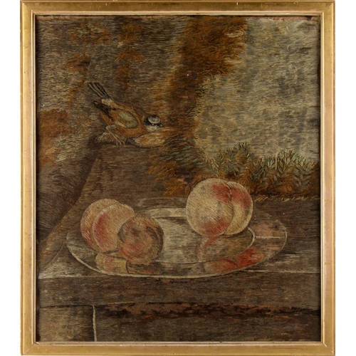 23 - Property of a lady - a 19th century silkwork picture depicting a bird & three peaches on a tray, 16....
