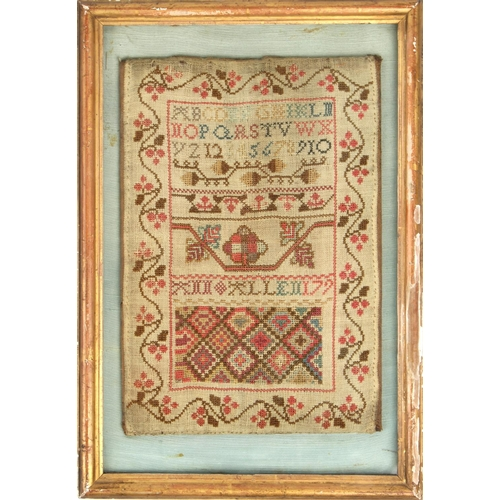 25 - Property of a lady - a late 18th century sampler, mounted in a later glazed gilt frame, 14.75 by 10....