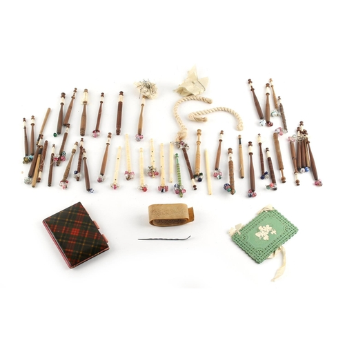27 - Property of a deceased estate - a quantity of lace making bobbins, bone & wood; together with a McBe...