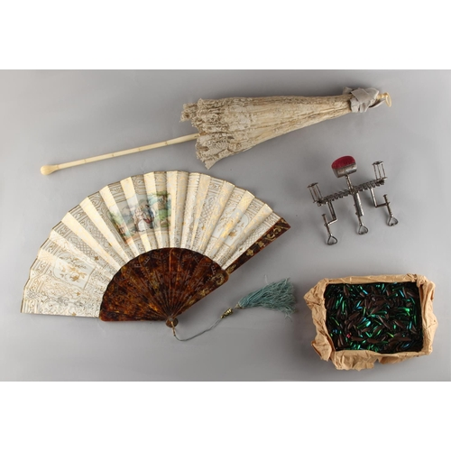 29 - Property of a lady - a Victorian ivory & lace folding parasol; together with a tortoiseshell & paint...