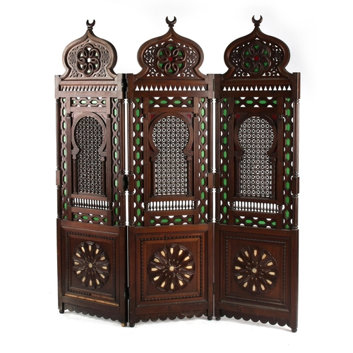 3 - Property of a deceased estate - a late 19th / early 20th century Ottoman Islamic hardwood three fold...