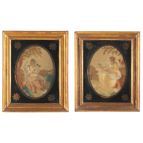 30 - Property of a deceased estate - a pair of 19th century silkwork pictures depicting maidens in landsc...
