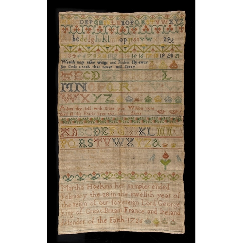 32 - Property of a lady - a good early 18th century sampler by Martha Hoskins, dated 1726, 16 by 9.25ins....