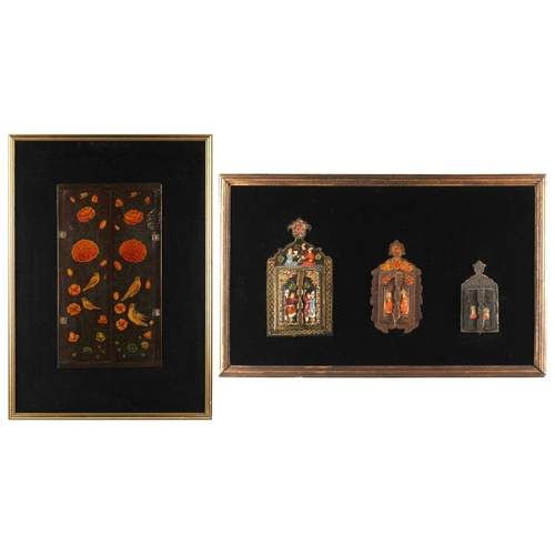 4 - Property of a deceased estate - four Persian painted wood mirrors, each with twin shutters, the tall...