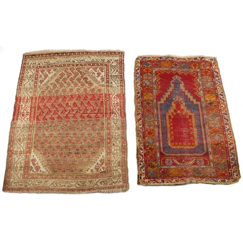 40 - Property of a deceased estate - an antique Turkish Milas prayer rug, 51 by 33ins. (130 by 84cms.); t...