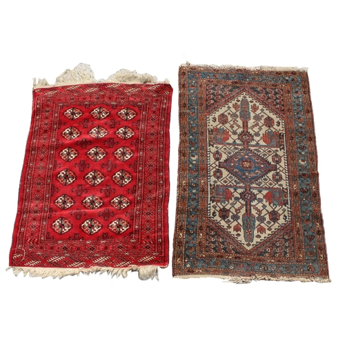 51 - Property of a deceased estate - a small Turkoman rug with three rows of guls, 54 by 41ins. (137 by 1...