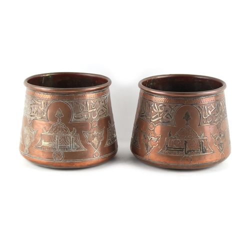 8 - Property of a gentleman - a pair of late 19th / early 20th century Ottoman Islamic heavy copper & si...