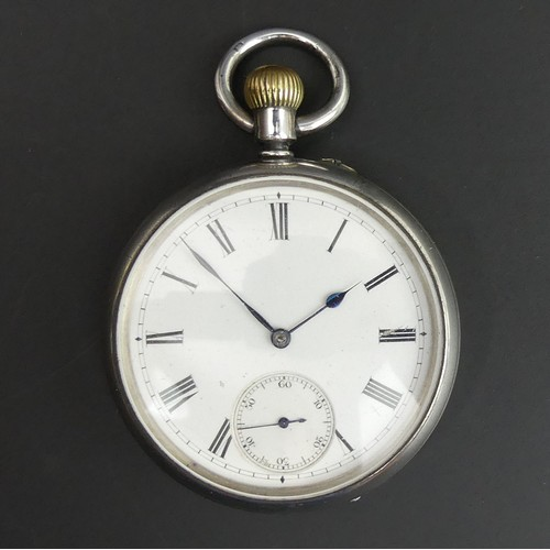 15 - Victorian open face silver pocket watch assay marks for Birm.1893. 50mm dia x 70mm in length....