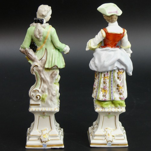 19 - A 19th century pair of Passau German porcelain figures. 18.5cm high....
