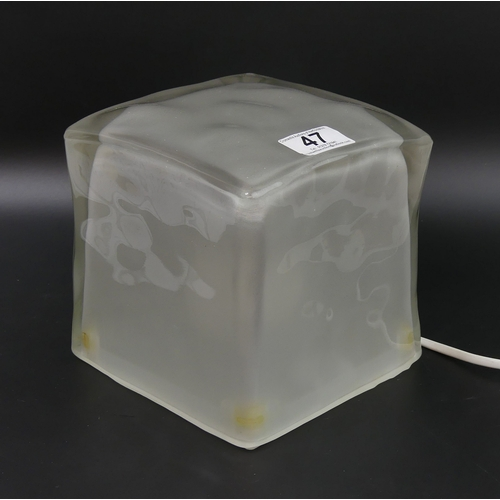 47 - Retro cube glass table lamp. 15.5cm high....