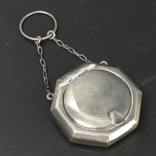 56 - George V silver chatelaine compact, Chester 1915. 18 grams. 9.5cm long....