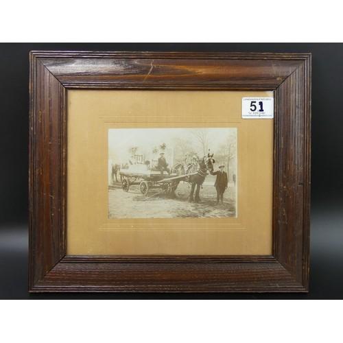 51 - Victorian oak framed heavy horse and cart photograph. Frame 33.5cm x 28.5cm...
