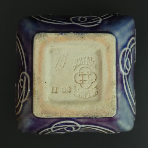 1 - Art Nouveau Doulton Lambeth pottery vase by Leslie Harradine. 7.7cm high x 9cm square. UK Postage £1...