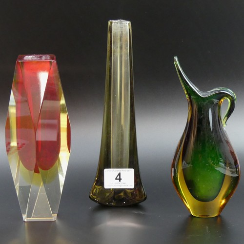 4 - Murano Sommerso glass vase, a jug and a Whitefriars glass vase. Whitefriars 23.5cm high. UK Postage ...