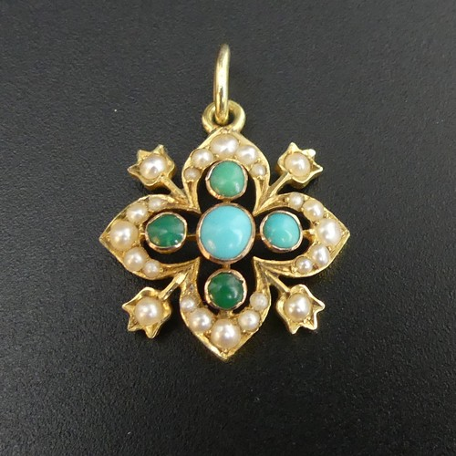 5 - Edwardian 15ct gold seed pearl and turquoise pendant. 2.1 grams 20mm in length excluding the ring. U...
