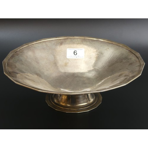 6 - Central School of Arts & Crafts planished silver pedestal bowl. London 1943. 802 grams. 27cm dia x 8...