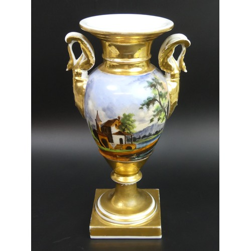 11 - Antique Paris hand painted porcelain pedestal swan handled vase, circa 1830. 25cm high. UK Postage £...