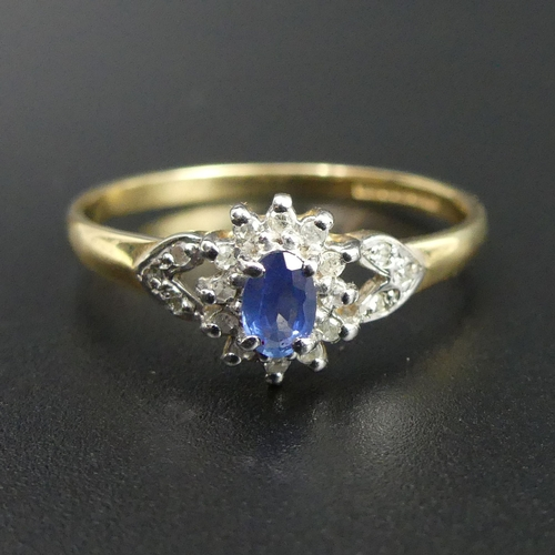 18 - 9 carat gold sapphire and diamond cluster ring, size T. 1.9 grams. Head 9mm band 1.8mm. UK Postage £...