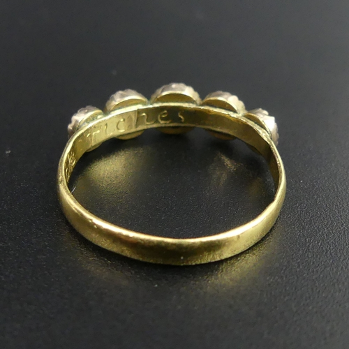 20 - Antique high carat gold posy ring,