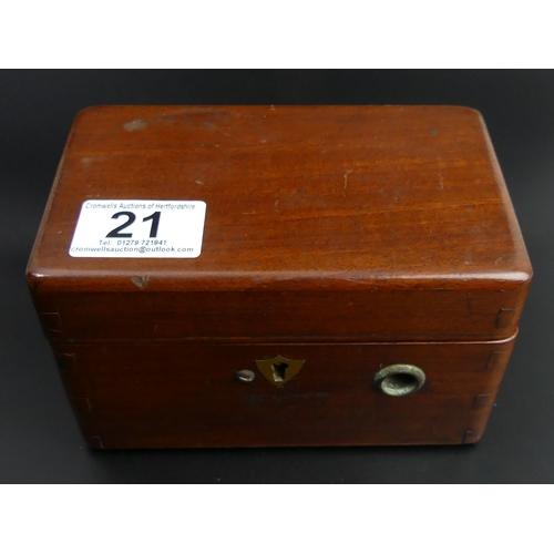 21 - A mahogany cased Magneto Electric Machine for nervous diseases. !5cm x 9.5cm x 9.5cm. UK Postage £15...