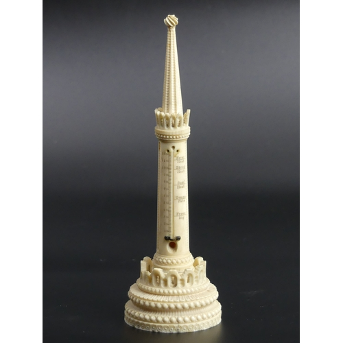 28 - Antique ivory thermometer holder, circa 1890-1910. 19cm high. UK Postage £12.