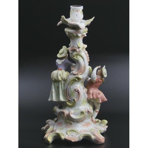29 - Large 19th century Dresden German porcelain, floral encrusted figural candlestick. 33cm high. UK Pos...
