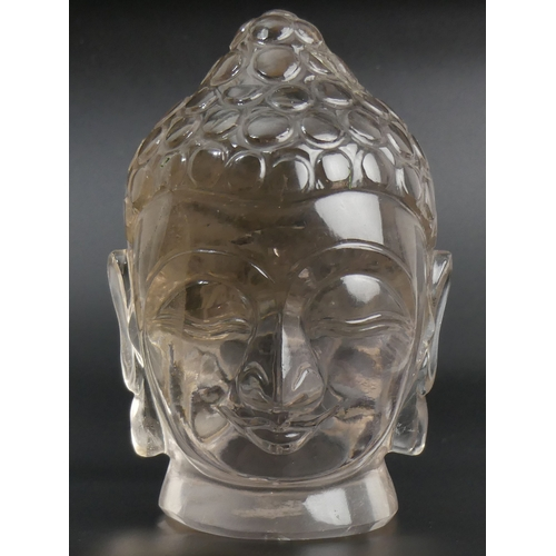 30 - Finely carved Chinese Rock crystal Buddhas head sculpture. 19cm high. UK Postage £30.