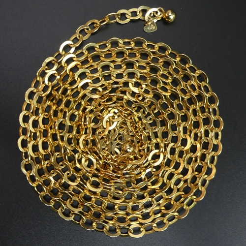 37 - Long 9 carat gold belcher type chain link necklace. 15 grams. 152cm long 5.4mm wide. UK Postage £10.