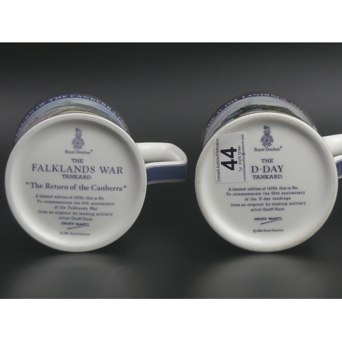44 - Two Royal Doulton china limited edition tankards, The Falklands War and The D-Day Landings. 13cm hig...