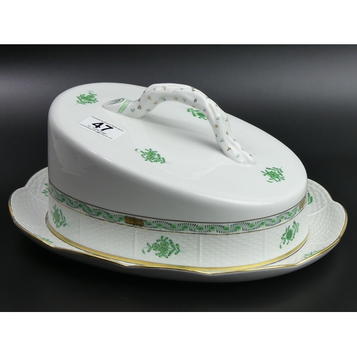 47 - A large Herend Chinese green bouquet porcelain cheese dish and cover. 30cm long x 14cm high. UK Post...