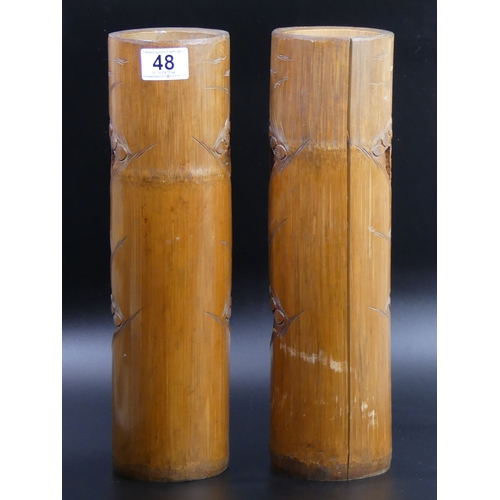 48 - A large pair of old Chinese carved bamboo brush pots. 36.5cm high. UK Postage £30.