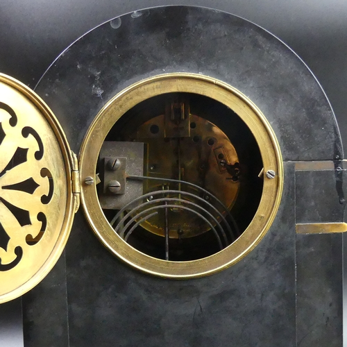 49 - Victorian marble and slate mantle clock with gilt metal embellishments and a French movement. 35cm h...