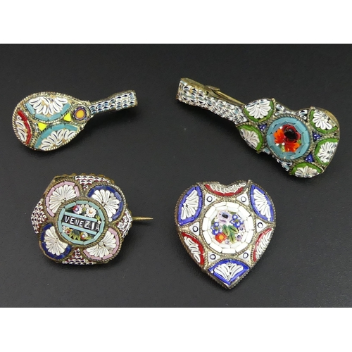 50 - Four vintage Italian glass micro-mosaic and gilt metal brooches. Guitar 45mm long. UK Postage £12.